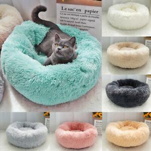 Pet Dog Cat Calming Bed Comfy Shag Warm Fluffy Bed Nest Mattress Round Cushion