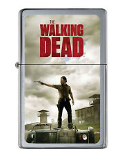 The Walking Dead Rick Grimes Flip Top Lighter Brushed Chrome with Vinyl Image.