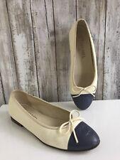 CHANEL Cream Light Beige Blue Cap Toe Leather Ballerina Flats Size 37 RARE!