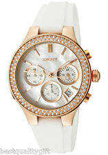NEW DKNY WHITE SILICONE,ROSE GOLD,CRYSTALS,CHRONOGRAPH & MOP DIAL WATCH NY8198