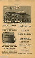 1876 ADVERT Newspaper Building Centennial Exposition Philadelphia Koehler Butter