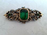 Vintage Gold Tone And Enamel With Large And Small Emerald Glass Ornate Brooch