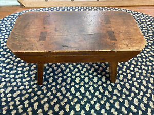 """Vintage Wooden Foot Stool Bench Child's Milking Stool Rustic Primitive H 7"""" L 13"""