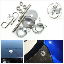 "NEW Muscle 3/16"" Car Chrome Hair Pin Style Hood Pin Set W/ Lanyards 1/2"" Studs"