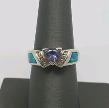 DESIGNER STERLING SILVER OPAL AND TANZANITE RING SIZE 8