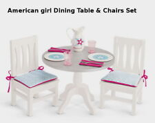 "NEW AMERICAN GIRL DINING TABLE & CHAIRS FOR 18"" DOLL ~Pitcher Plates Forks++ NIB"