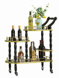 New Wood Serving Bar Cart Tea Trolley with 3 Tier Shelves and Rolling Wheels