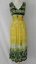New Summer Dress Empire Waist Sleeveless V Neck Maxi Jersy Yellow/Green Size XS