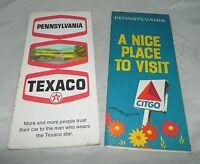 Vintage Lot of 2 Pennsylvania Travel Road Maps Citgo & Texaco Advertising