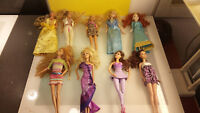 Barbie Dolls Lot Of 9 Barbie Style Decent condition