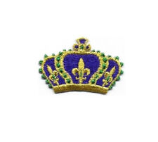 Mardi Gras - Crown - New Orleans - Queen - Fully Embroidered Applique Patch