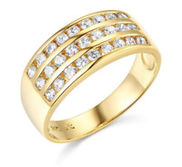 2 Ct Round Real 14k Yellow Gold 3-Row Channel Set Wedding Anniversary Band Ring