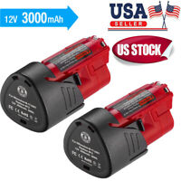 2X 12V 3.0AH Lithium-ion Battery For Milwaukee M12 12 Volt 48-11-2440 48-11-2401