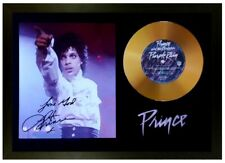 More details for prince signed photo and 'purple rain' gold disc collectable memorabilia gift /02