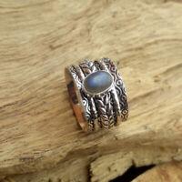 Labradorite Stone Solid 925 Sterling Silver Spinner  Meditation Ring Size K22