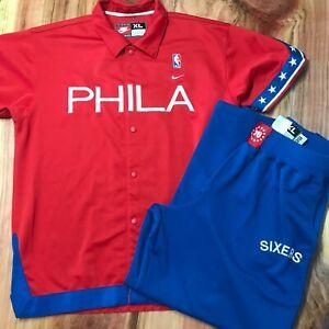 Vtg Nike NBA Phila 76ers Sixers Warm Up 66 SUIT Snap on Men's Shirt XL Pants XL