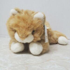 """A&A Flopsies Tangerine Kitty Cat Orange White Plush Stuffed Animal Bow 13"""""""