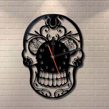 Mexican Sugar Skull Shape Vintage Quartz Ring Face Wall Clock Retro Home Decor