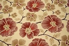 100% Cotton Canvas Duck Tan Red Tropical Floral Upholstery Drapery Print Fabric