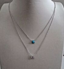 2 STRANDED NECKLACE W/ LAB DIAMONDS & TURQUOISE GEM / 925 STERLING SILVER / 18''