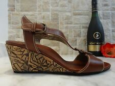 Anyi Lu 'Lola' Brown Leather Wedge Sandals US-8.5M EUR-38.5M MSRP $395