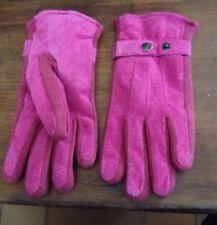 Paire De Gants Rose 70% Cuir 30% Polyester Taille s Reglable Polaire Interieur
