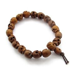 Tibetan Jujube Wood Skull Beads Buddhist Prayer Mala Bracelet
