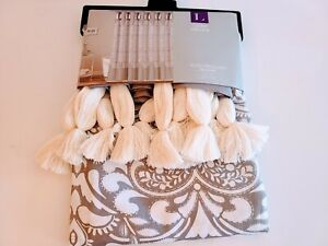 "Lush Decor Shower Curtain Boho Medallion 72"" X 72"" Gray White Tassels New"