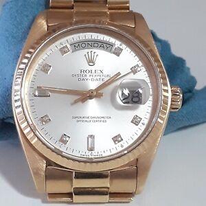 Rolex Day Date 36 mm 18K Yellow Gold Silver Diamonds Dial Watch 18038 Circa 1978