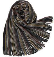 Klassischer Strickschal aus 100% Wolle (Merino) mit Fransen braun gestreift