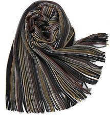 Klassischer Strickschal aus 100% Merinowolle mit Fransen -- braun gestreift