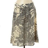 Theory Womens Size 12 Midi A-Line Skirt 100% Silk Floral Print Black Beige