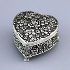 HIGH QUALITY TIN ALLOY HEART FLOWER MUSIC BOX : MOON RIVER