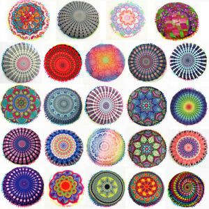 Indian Mandala Floor Pillow Throw Round Bohemian Seat Cushion Covering Pouf Sham