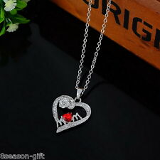 1PC Rhinestone Love Heart Shape Mom Pendant Necklace Mother's Day Gift Jewelry