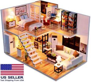 DIY Spilay Simple Elegance Dollhouse Miniature Duplex Apartment Loft Model Kit