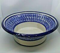 Polished Pottery Blue/ White Spongeware Stoneware Bowl 12 inches round, signed
