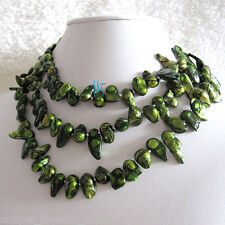 "47"" 7-8mm Green Black Wave Baroque Freshwater Pearl Necklace Strands Jewelry"