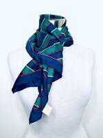 "Vintage 50-60's Silk Scarf Mid Century Glentex Blue Green Striped 25""x 25"" Rare"