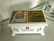 Ashes Casket Lock & photo Lid Personalised Urn memorial box NEW