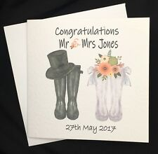 Personalised Bride & Groom Welly boot Wedding card, Wife, Husband,Mr & Mrs