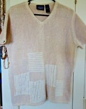 CRAZY HORSE BY LIZ CLAIBORNE Tan Thick SWEATER w White Block Stitch Size M