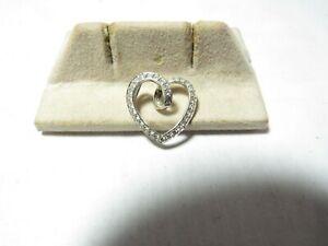 14K WHITE GOLD FLOATING HEART PENDANT  ROUND BRILLIANT CUT NATURAL DIAMONDS
