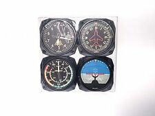 Trintec Classic 4-Piece Instrument Aviation Coaster Set Gauge Airplane Aviator