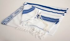 "Kosher Tallit Talit Prayer Shawl Blue / Silver Stripes in Size 55.1""X74.8"""