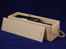 Plain Wooden Wine Box for 1 Standard 75cl Bottles Decoupage Crafts Rope Handle