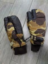 vintage CABELAS hunting GORETEX camo MEDIUM mittens SHOOTING leather gloves