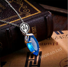 Final Fantasy Cosplay Blue Stone Gem Crystal Amulet Necklace Pendant Great