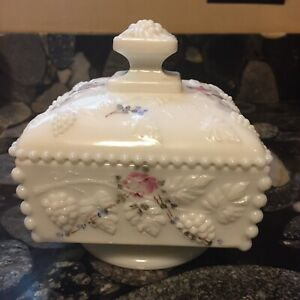 Vintage Heart Jewelry Box Old Antique Milk Glass Hand Painted Trinket