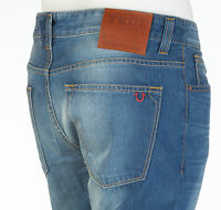 True Religion Mens Denim Jeans HORSESHOE Straight MID BLUE Designer 30-32 $295